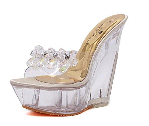 NVXIE Femmes Dames Nouveau Wedge Sandales à Talons Hauts Pantoufles Chaussures Peep Toe Platform Transparent PU Pierres de Strass Fall Spring Spring Club Party Dressy GOLD-EUR39UK665 Tndcc78