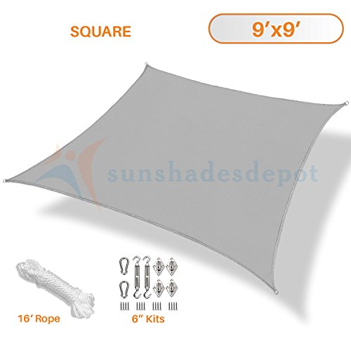 TANG Sunshades Depot 9 x9 Light Grey Sun Shade Sail with 6 in Hardware Kit 180 GSM Square UV Block Outdoor Canopy Patio Garden Yard Park Pergola Kindergarten Playground Custom