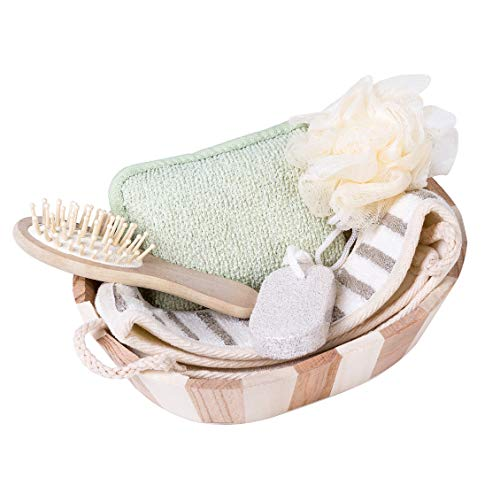 Xena 5 Piece Bamboo Bath Gift Set Bamboo Bucket Holder Spa Shower Supplies Bathroom Washcloth Loofah Sponge Pumice Stone Back Scrubber Accessories Eco Friendly Healthy 9.65 x 7.48 Inches