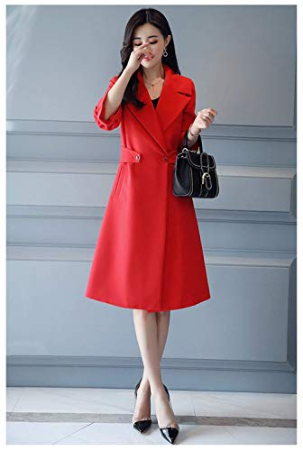Longues Manteau Slim Fashion Femme Moderne Fit Trench Manches Long Transition Revers De Ux5qcYSw1
