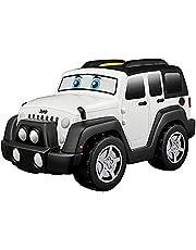Bb Junior Jeep Touch and Go: speelgoedauto Wrangler Unlimited met motorgeluiden, rijdt met één druk op de knop, vanaf 12 maanden, wit (16-81801)