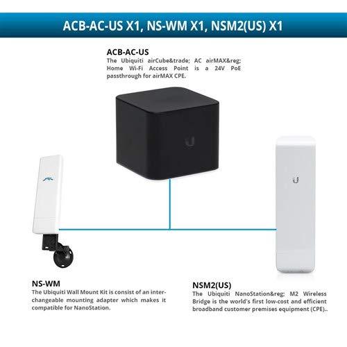 Ubiquiti ACB-AC Aircube AC Airmax Home Wi-Fi Access Point with NSM2 NanoStation M2 Wireless Bridge and NS-WM Wall Mount ()