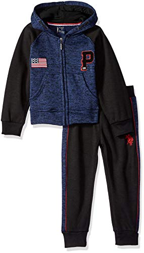 U.S. Polo Assn. Boys' Toddler' Fleece Jog Set, Cut Sew Panel Sleeves Navy, 2T