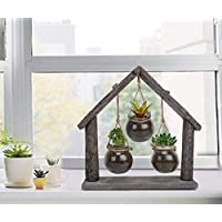 Order Happiness Grey Set of 3 Glass Pots/Planters/Vases/Terrarium Hanging on Large hut Shaped Natural Rustic Wooden Frame for Indoor/Outdoor Home Garden