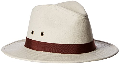 ale by Alessandra Women's Skyler Adjustable Canvas Fedora Hat With UPF 50+, Natural/Brown, Adjustable Head - Sunglasses Hilton Head