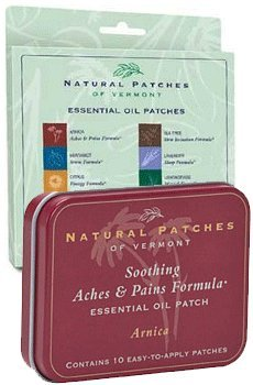 Arnica Essential Oil Patches Tin with Variety Pack by Natural Patches of Vermont - 18 patches