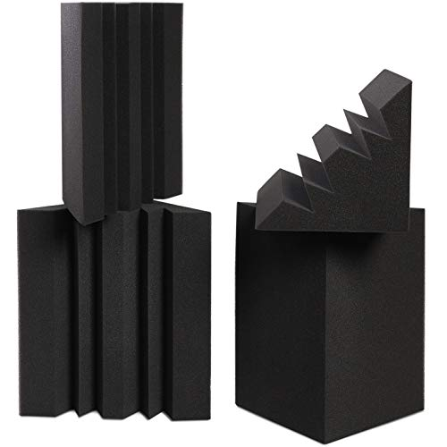Sound Addicted - Corner Bass Traps (4 Pack) 12 x 7 x 7 inches, Sound Dampening Acoustic Foam for Home Recording Studio, Theater or Home Cinema | BabuTrap