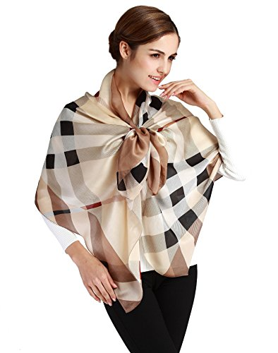 "Butterfly Rose 100% Mulberry Silk Fashion Pattern Long Scarf Shawl Wrap 71"" X 28"" (S1 Khaki)"