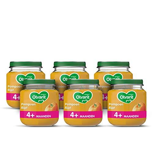 Olvarit Pompoen Rijst – babyhapje voor baby's vanaf 4+ maanden – 6×125 gram babyvoeding
