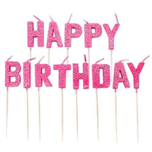 Amscan Pink Happy Birthday Pick Glitter Candles