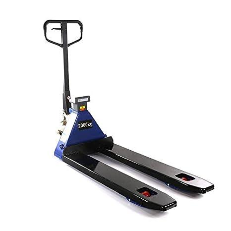 Transpaleta profesional con báscula e impresora 0,5 kg Pasos 2000 kg 2,0t para Europalet (1150 mm): Amazon.es: Bricolaje y herramientas