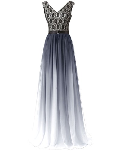 Farbverlauf UK18 Damen SD342 Kleid Formale Brautjungfer Abendkleid Maxikleid Clearbridal Chiffon Bandage wAgxIvZq