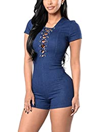 Women's Short Sleeve Denim Slim Front Lace Up Short Jumpsuit Overall Playsuit