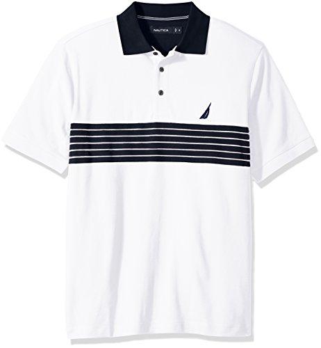 Nautica Mens Short Sleeve Striped Polo Shirt