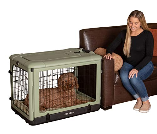 """(Pet Gear """"The Other Door"""" 4 Door Steel Crate with Plush Bed + Travel Bag for Cats/Dogs, Sets up in Seconds No Tools Required, Built-in Handle/Wheels)"""