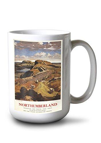 - Lantern Press Northumberland, England - Hadrian's Wall and Sheep British Rail - Vintage Advertisement (15oz White Ceramic Mug)