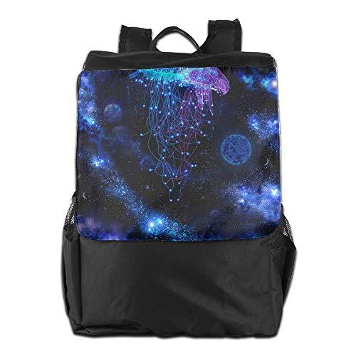 (Beach Surfer Travel Backpacks Cosmic Galaxy Under Sea Ocean Jellyfish Shoulder Bag Polyester Multifunction Youth)