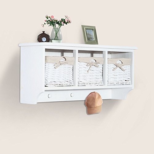 "HOMCOM 32"" Rustic Country Floating Storage Shelf W/Coat Hooks and Removable Wicker Baskets - Antique White by HOMCOM (Image #2)"