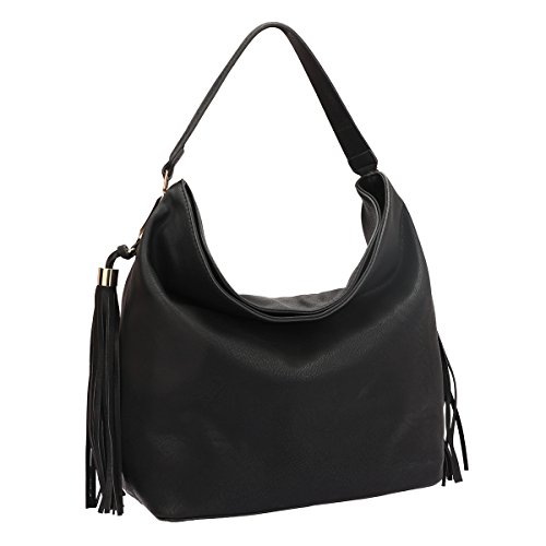 MKP Collection Fringe Studded Faux Leather Hobo Bag~Designer Satchel~Fashion Tote~Beautiful woman handbag (7006) Black