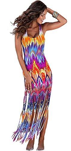Sexy Sleeveless Tie Dye Fringed Fringe Hem Long Maxi Bodycon Fishtail Mermaid Beach Tank Dress Colorful (Tie Dye Camisole Dress)