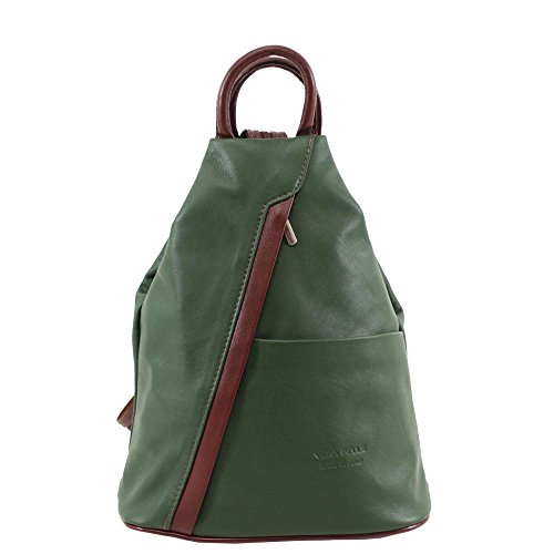 Genuine Women's Soft Stamp Vera Rucksack Green brown Pelle Backpack Leather Sq4U5Ffq