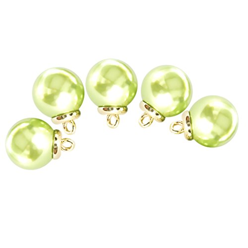 Baoblaze 5Pcs Plastic Pearl Buttons Charms Pendants for Necklace Earrings Jewelry Finding - Green ()