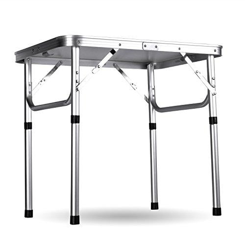 Ancheer Klapptisch Campingtisch Gartentisch,Höhenverstellbar Tragbare Outdoor-Camping-Tisch aus Aluminium,60x45x26-56cm