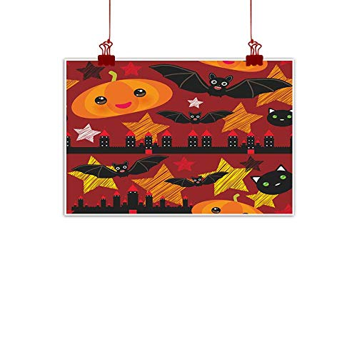 duommhome Modern Oil Paintings Halloween Seamless Pattern with Castle Pumpkin Stars Bats Night Sky Black Yellow Orange red Burgundy Vector Modern Oil Paintings 24
