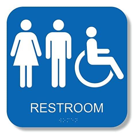 Amazoncom Unisex Handicap Restroom Sign X With Braille ADA - Handicap bathroom sign