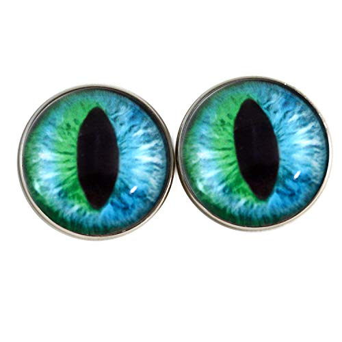 (25mm Sew On Cheshire Cat Green and Blue Fantasy Glass Eyes Shank Buttons with Loops - for Stuffed Animals, Plushie Toys, Art Dolls, Jewelry Making, Taxidermy, and More)