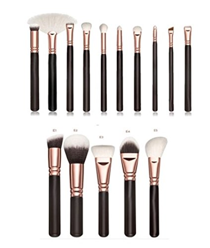 15 Pcs Makeup Brush Set Cosmetic Make Up Tools Professional Natural Beauty Palettes Eyeshadow Vanity Agile Popular Eyes Face Colorful Rainbow Hair Highlights Glitter Girls Travel Kit, Type-02