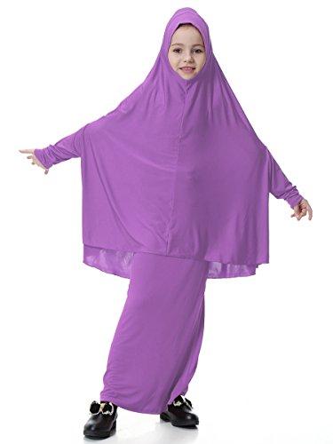 Islamic Muslim Loose Full Length Abaya Scarf Hijab Dress Middle East Arab Prayer Set for Kids Girls