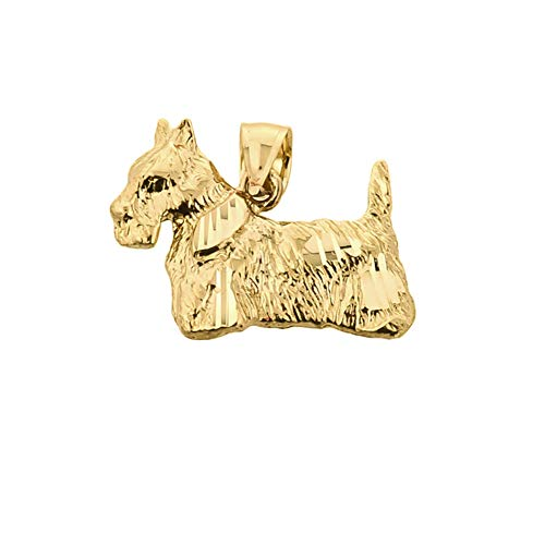 - Textured 10k Yellow Gold Scottish Terrier Dog Charm Pendant