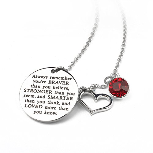 Zaoming You Are Braver Than You Believe Inspirational Necklace With Birthstone Graduation Gift Best Friend Encouragement Gifts Birthday Gift (01-January Garnet) ()