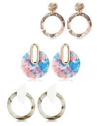 JOERICA 3 Pairs Acrylic Dangle Hoop Earrings Bohemian Statement Drop Resin Earrings for Women Girls Stainless Steel Post