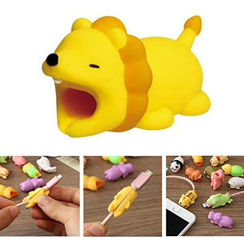 Cable Protector iPhone iPad Cable Android Cord Plastic Cute Land Animals Phone Accessory Protects USB Charger Data Protection Cover Chewers Earphone Cable Bite (Lion)
