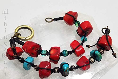 Genuine coral & turquoise mix & match bracelet set by All Things BA Art