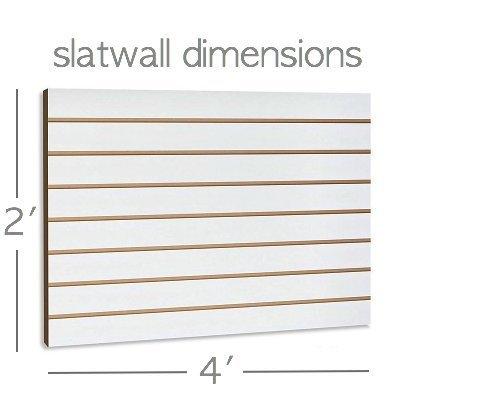 White Slatwall Panels Organizer Kit - Includes (2) - 24'' x 48'' White Slatwall Panels plus (15) - 6'' White Slatwall Hooks and (4) 12'' x 12'' x 4'' White Baskets by Only Garment Racks (Image #2)