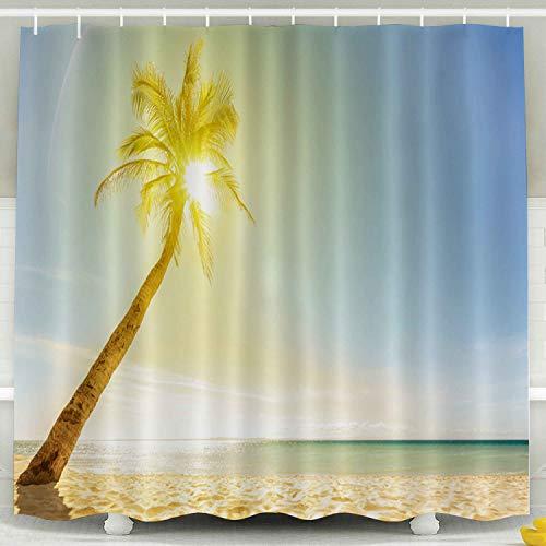 - Musesh Fabric Shower Curtain,Kids Shower Accessories, 78x72 Inch Shower Curtain Home Decoration Set with Hooks Beautiful Beach Sun Palm Focus Wallpaper