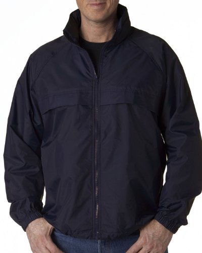 ULTRACLUB Adult Hooded Zip-Front Pack-Away Jacket>4XL True Navy 8929