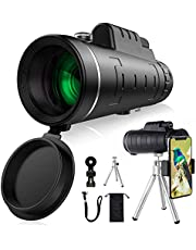 Monocular Telescope for Adults with Smartphone Holder,12X50 HD High Power Waterproof Magnifying Starcope Monocular, Rotatable Tripod for Bird Watching, Camping, Hiking, Hunting, Ball Games