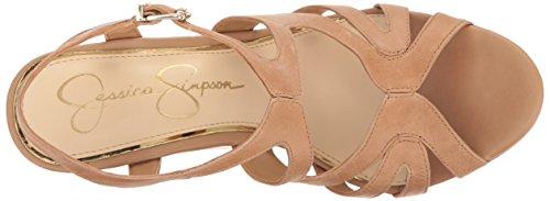 Jessica Simpson Women's Brissah Wedge Sandal, Black, Medium Buff