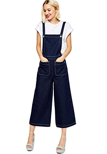 FV RELAY Womens Blue Denim Jumpsuit Rompers with Pockets Jeans Overalls (S)