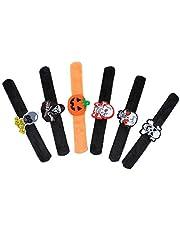 ULTECHNOVO 6pcs Halloween Slap Bracelets - Funny Wristbands Slap Bands Toy Bracelets Bulk for Kids Children Halloween Party Supplies Favors Birthday Gifts
