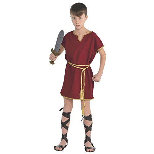 Gods and Goddesses Party Burgundy Roman Tunic Gladiator Costume, Fabric, Children's Free (Roman Gladiator Clothes)