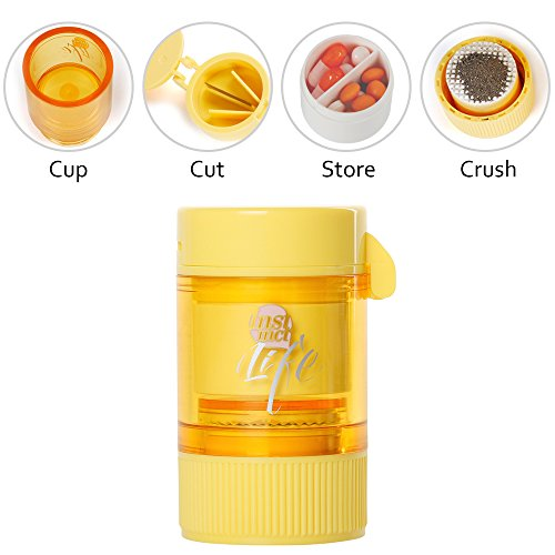 Bidear Pill Crusher Grinder Splitter Functional 3 in 1 Pill Cutter with Travel Pill Case (Yellow) by Bidear