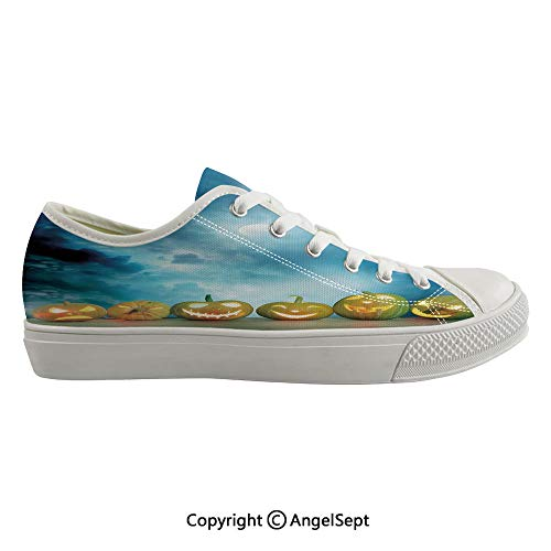 Durable Anti-Slip Sole Washable Canvas Shoes 16.53inch Spooky Halloween Pumpkins on Wood Table Dramatic Night Sky Print Decorative,Dark Blue Light Blue Yellow Flexible and Soft Nice Gift