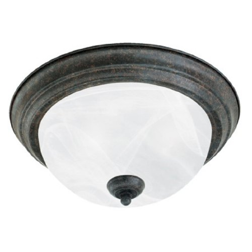 Thomas Lighting SL8692-22 Two-Light Ceiling Flush Mount Sabel Bronze Finish with Etched Alabaster Style Glass
