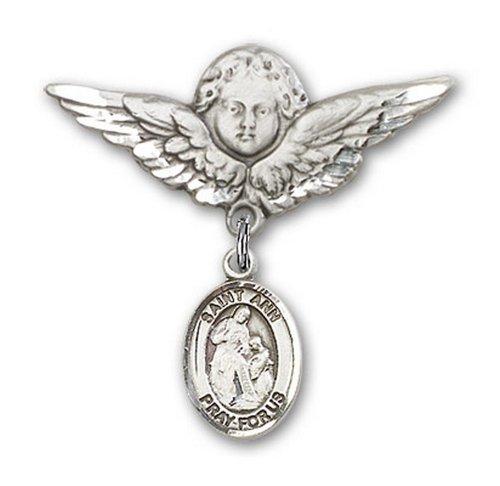 Icecarats Créatrice De Bijoux En Argent Sterling St. Ann Charme Ange Broche De Badge 1 1/8 X 1 1/8