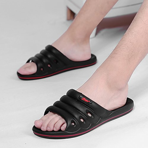 fankou Home Slippers Men and Indoor Household Plastic Soft, Non-Slip Bath Light Bathroom Slippers Summer Stay Cool Slippers,42, Black